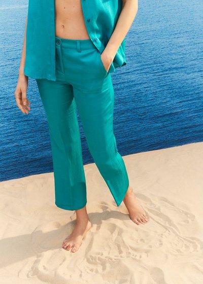 Jacquelib linen blend trousers