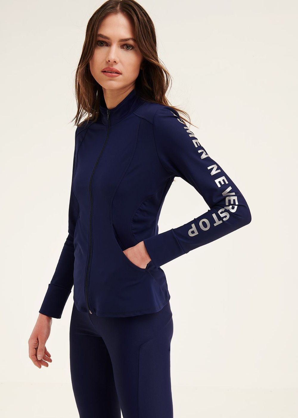 Fit sweatshirt with zip fastener - Ultramarine - Woman