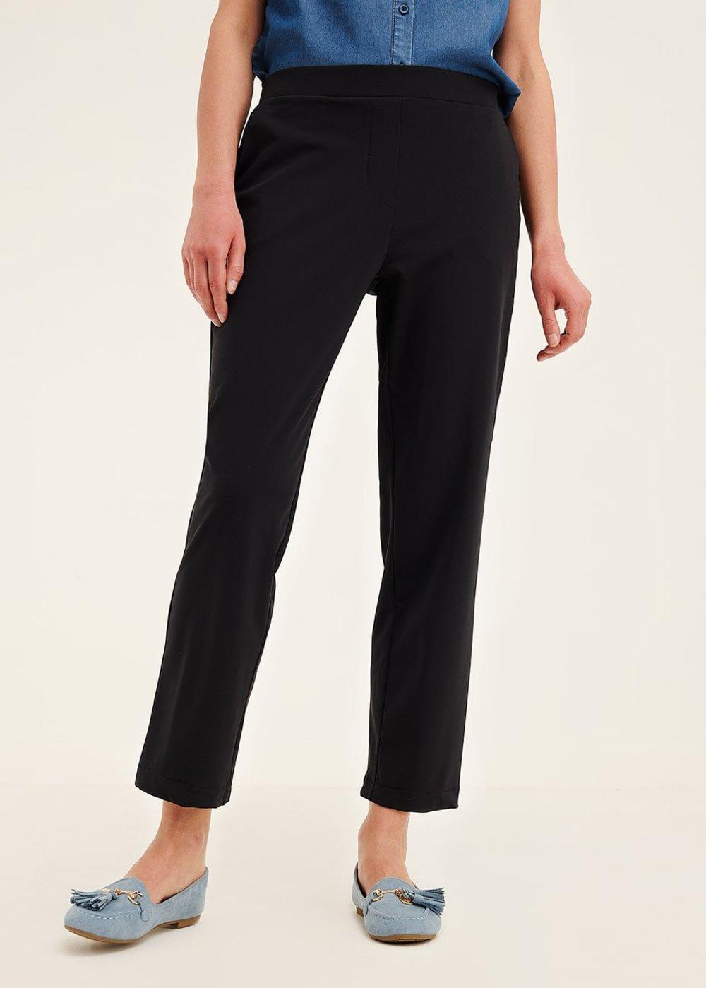 Cara elastic trousers in technical fabric - Black - Woman