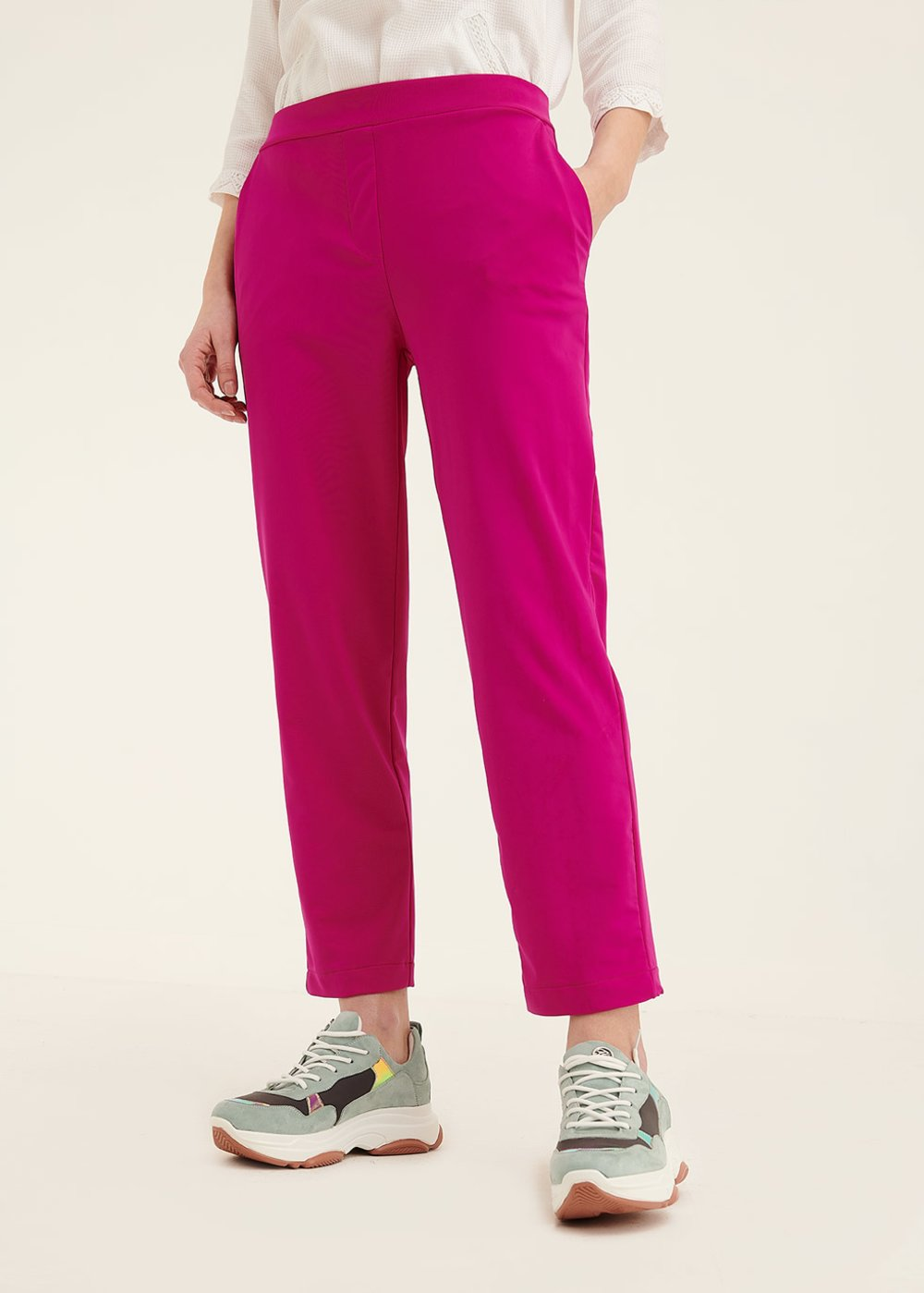Cara elastic trousers in technical fabric - Rasberry - Woman