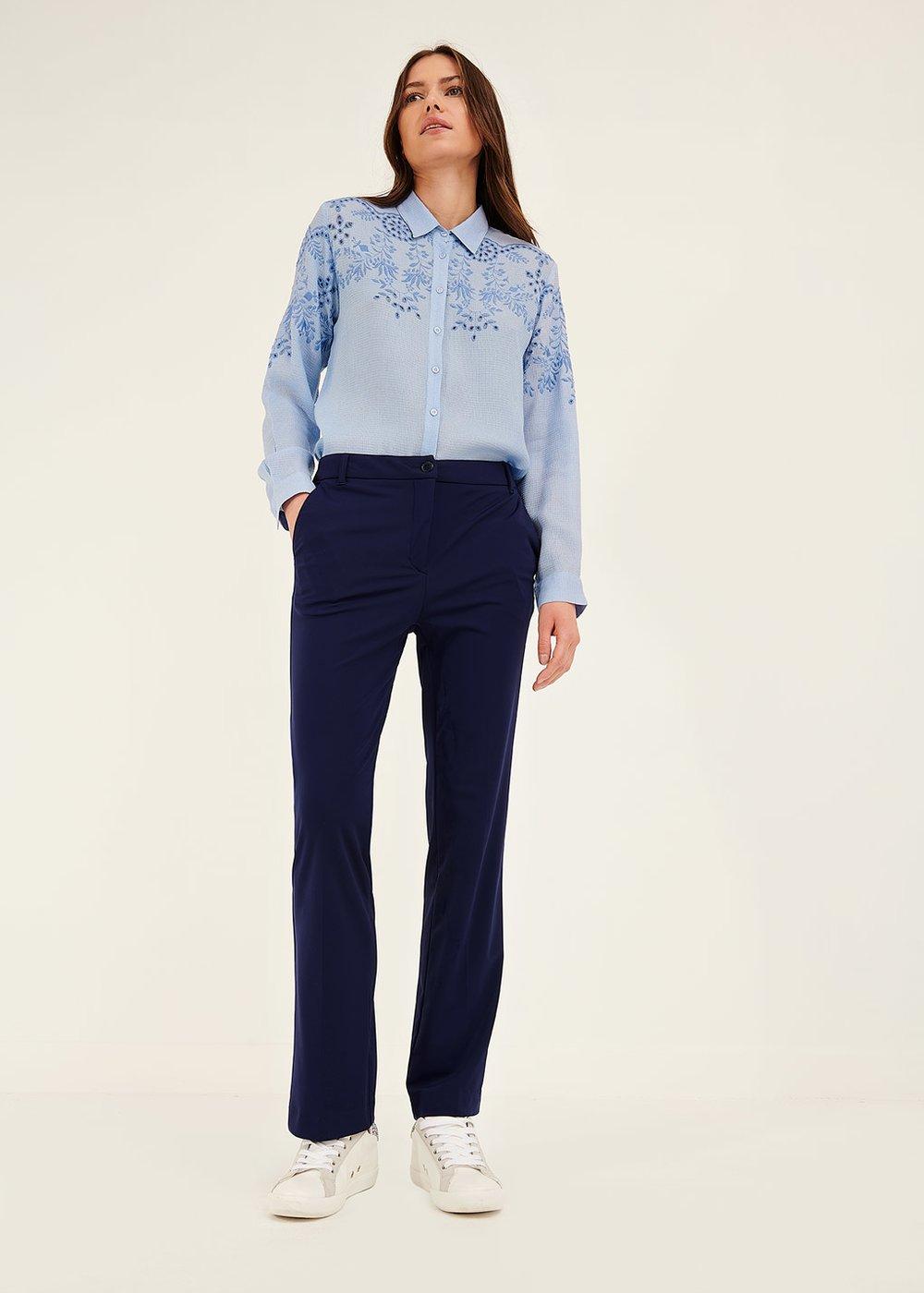 Jacquelic trousers in technical fabric - Ultramarine - Woman
