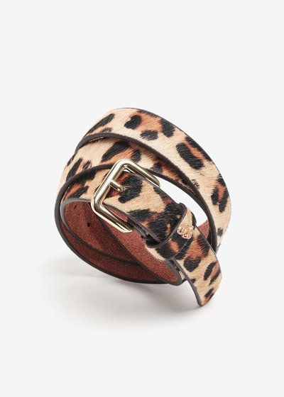 Genuine leather belt with spotted print