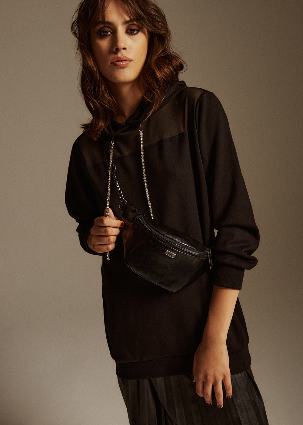 Mitch eco leather bumbag - Black - Woman