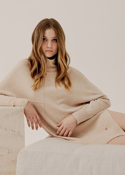 Mum Asymmetric Sweater Wide Ripe Neck in Ecru
