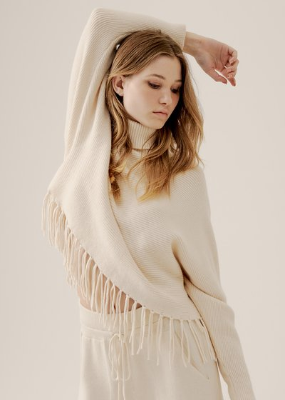 Mafalda Ribbed Sweater with Turtle Neck and Fringes in Ecru