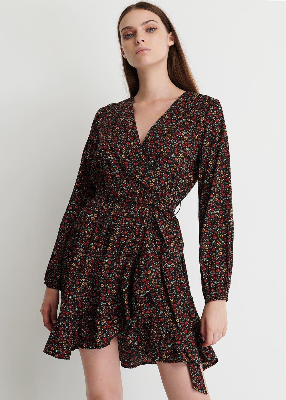 Adriel Midi dress with floral print - Black/Tango/Fantasia - Woman
