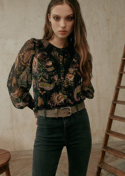 Clara Shirt With Lace and Rouche Neckline