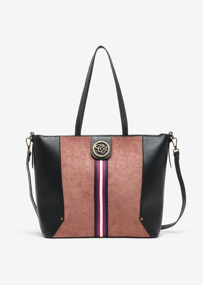 Badisse bag in eco leather and eco suede with decorative ribbon in the center
