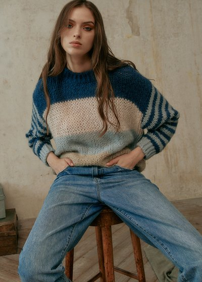 Maggie Striped Wool Blend Sweater