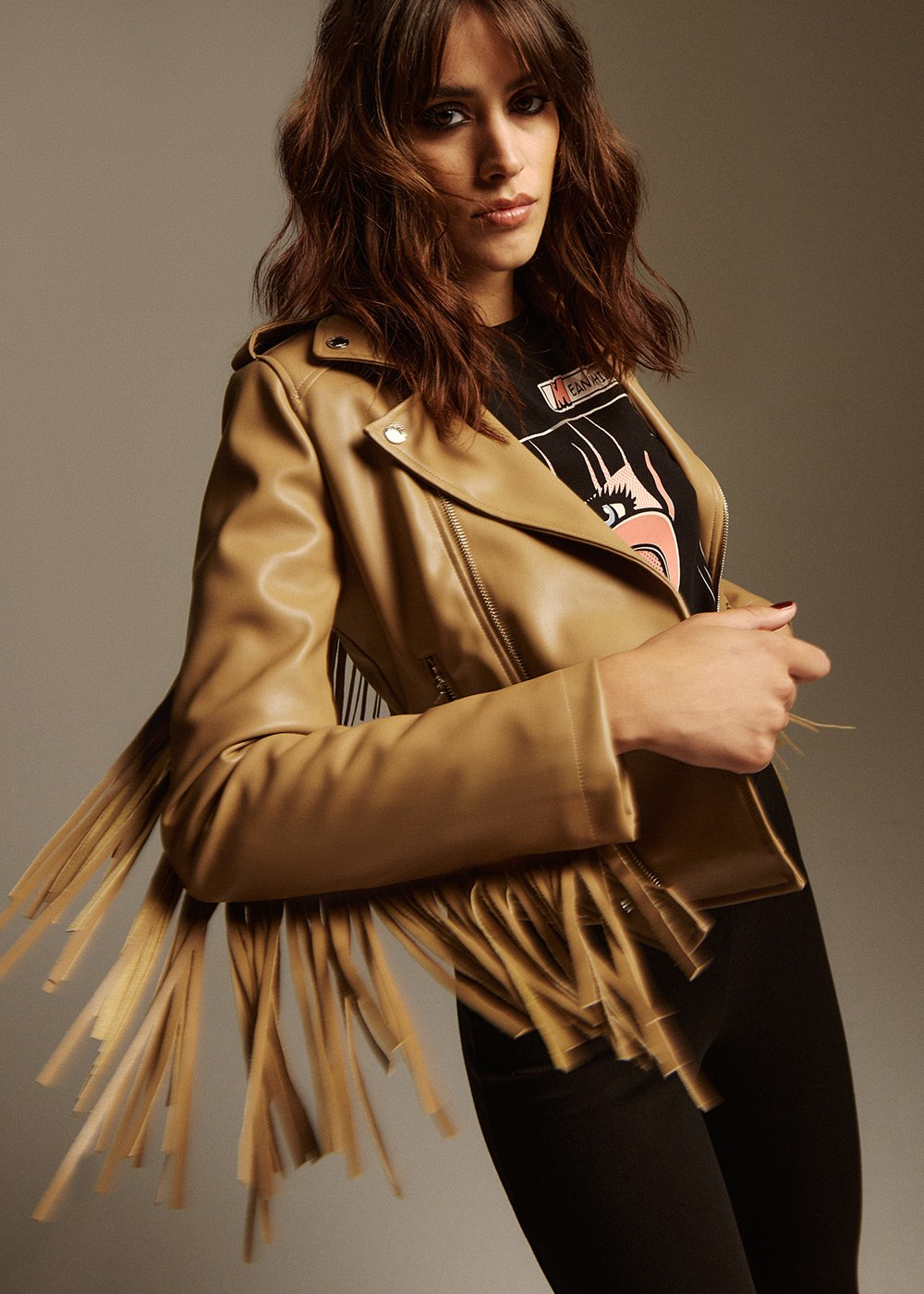 Galdric Short Faux Leather Jacket with Asymmetrical Zip and Fringes - Camel - Woman
