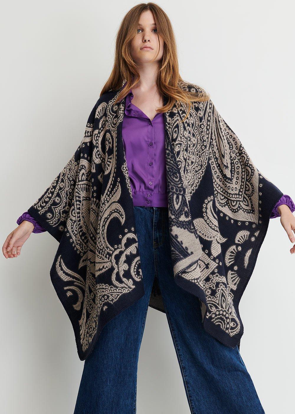 Malaysia cape with cashmere print - Oltremare Fantasia - Woman
