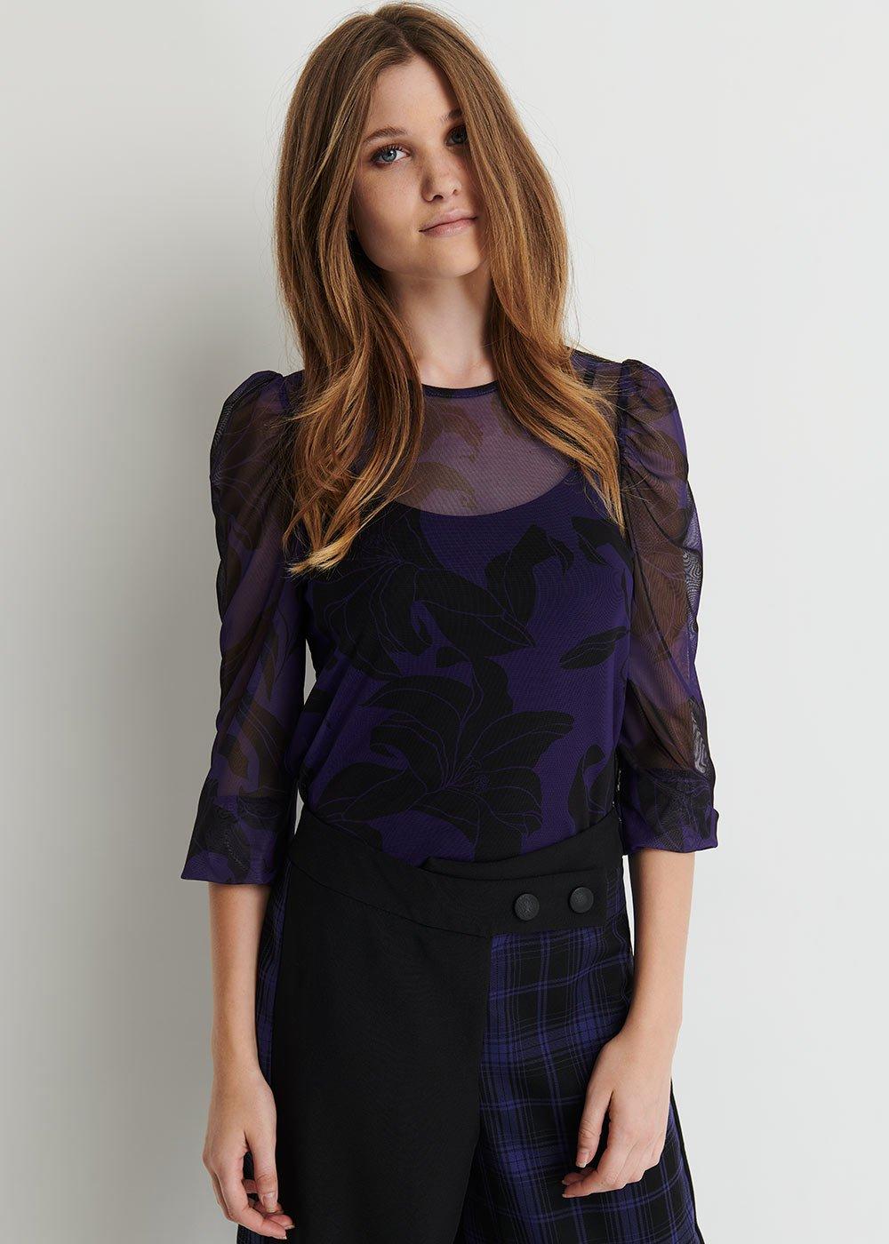 Samuela Printed T-shirt in Tulle - Black/Violet/Fantasia - Woman