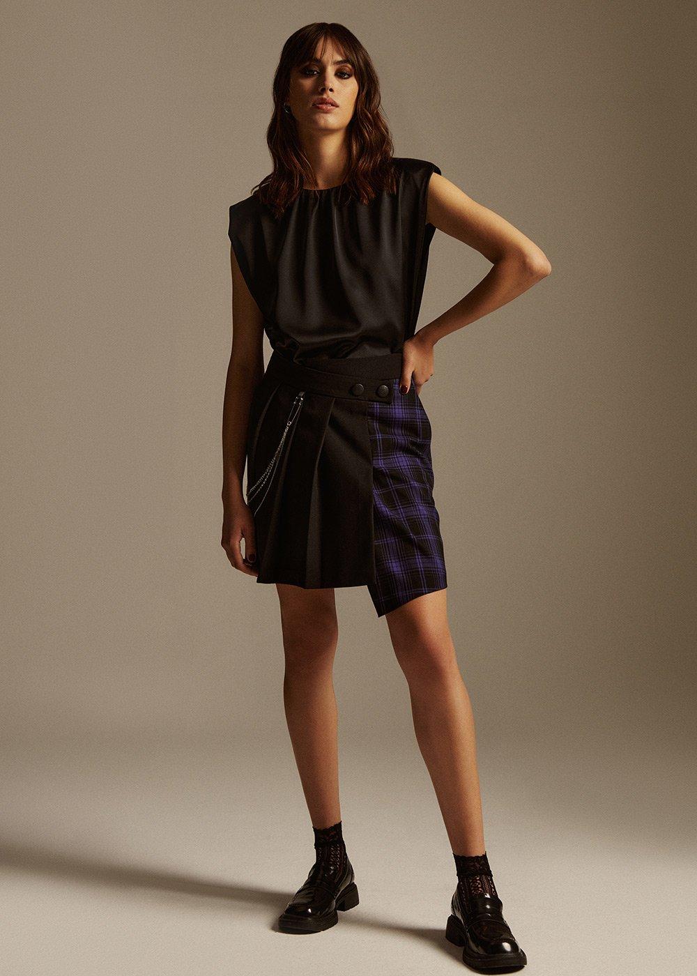 Giada short and asymmetrical Skirt - Black/Violet/Fantasia - Woman
