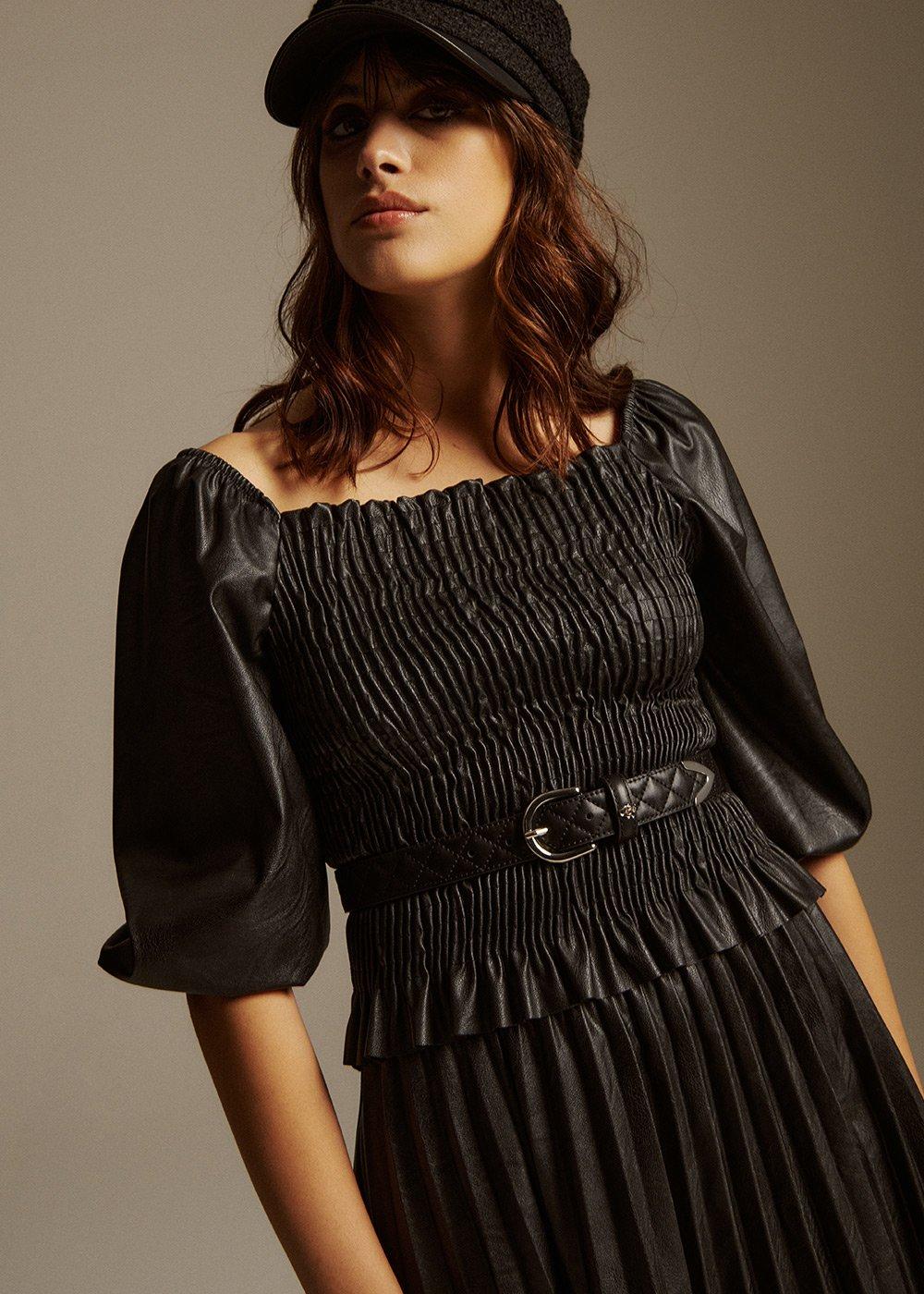 Serena Eco-leather T-shirt - Black - Woman