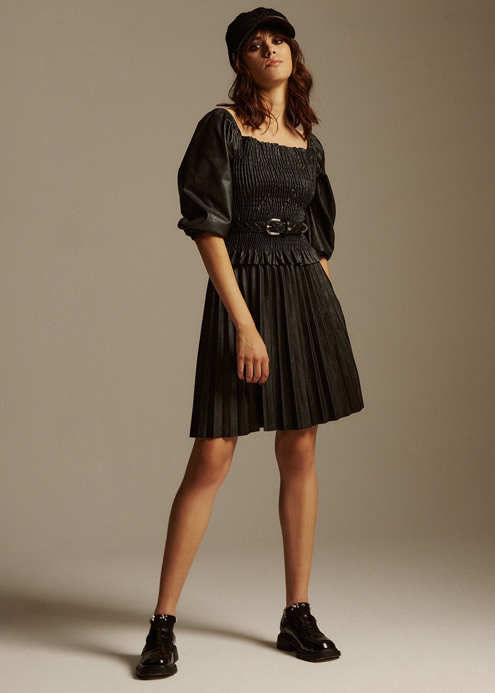 Gemma short skirt in pleated eco leather - Black - Woman