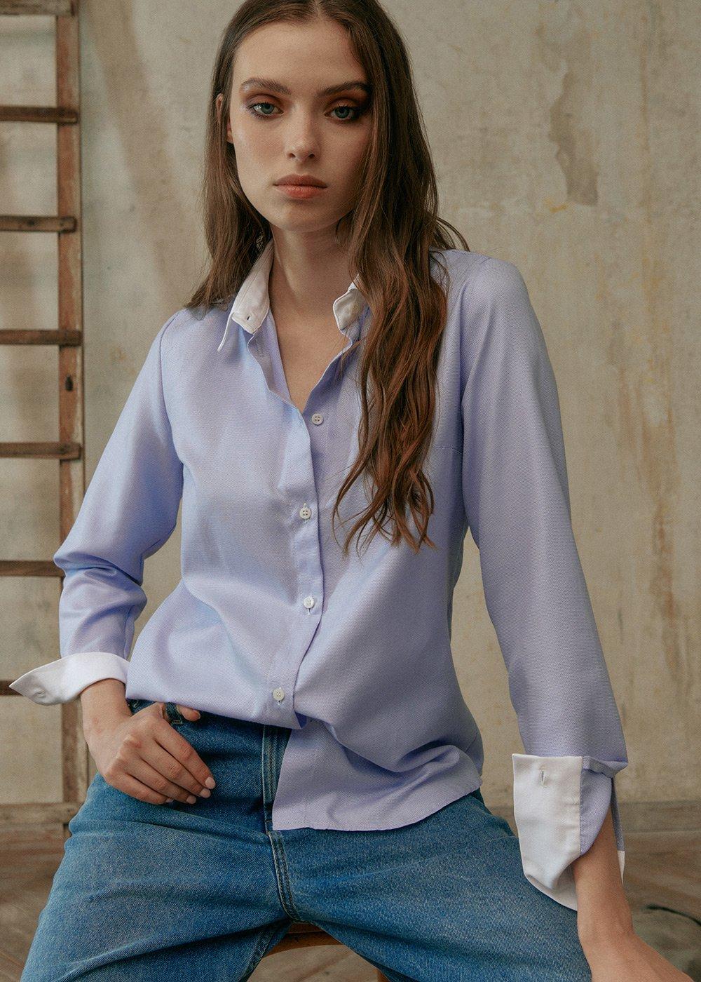 Camicia Alessia con Polsini a Contrasto - Polvere - Donna