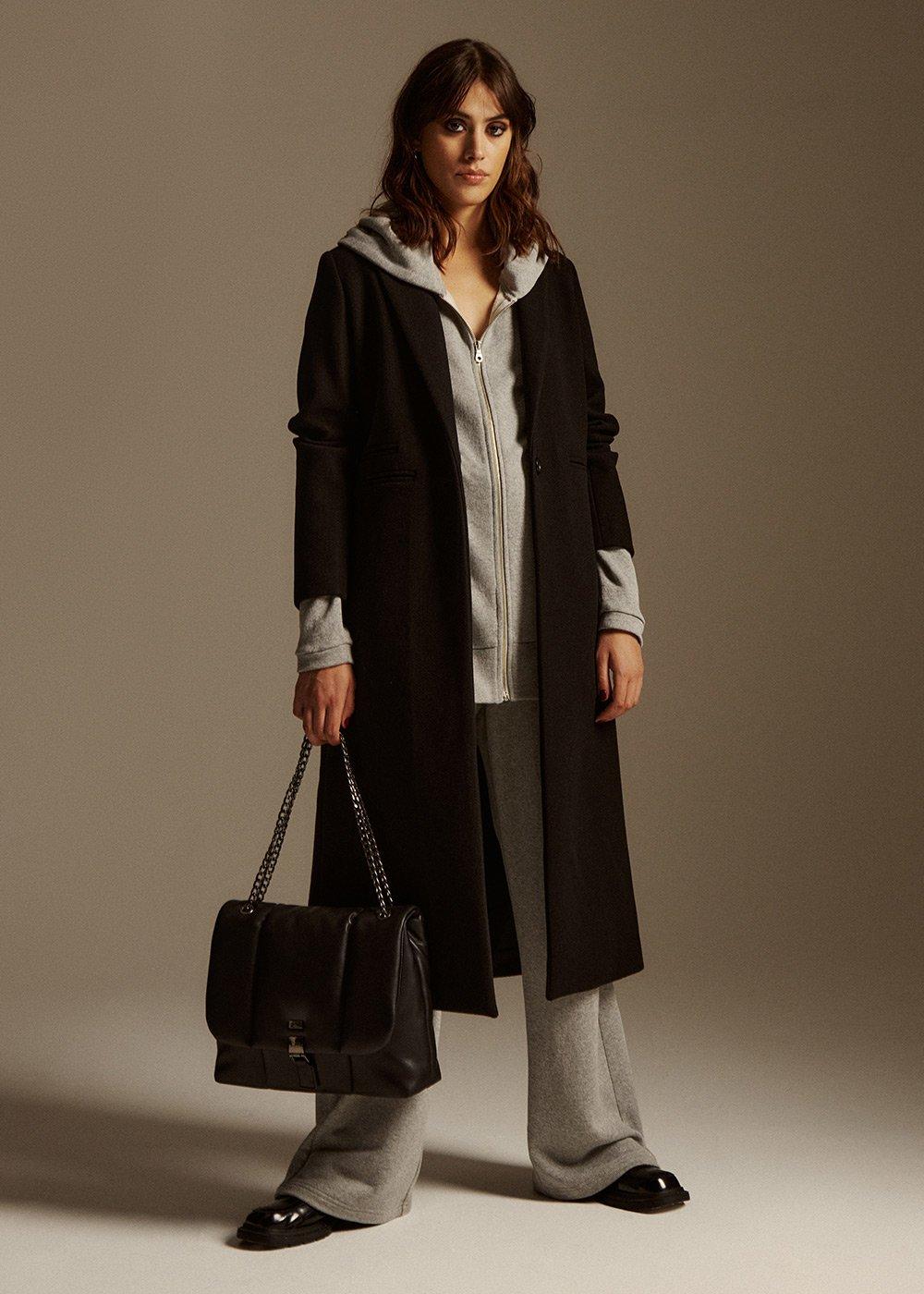 Cora Long cloth coat - Black - Woman
