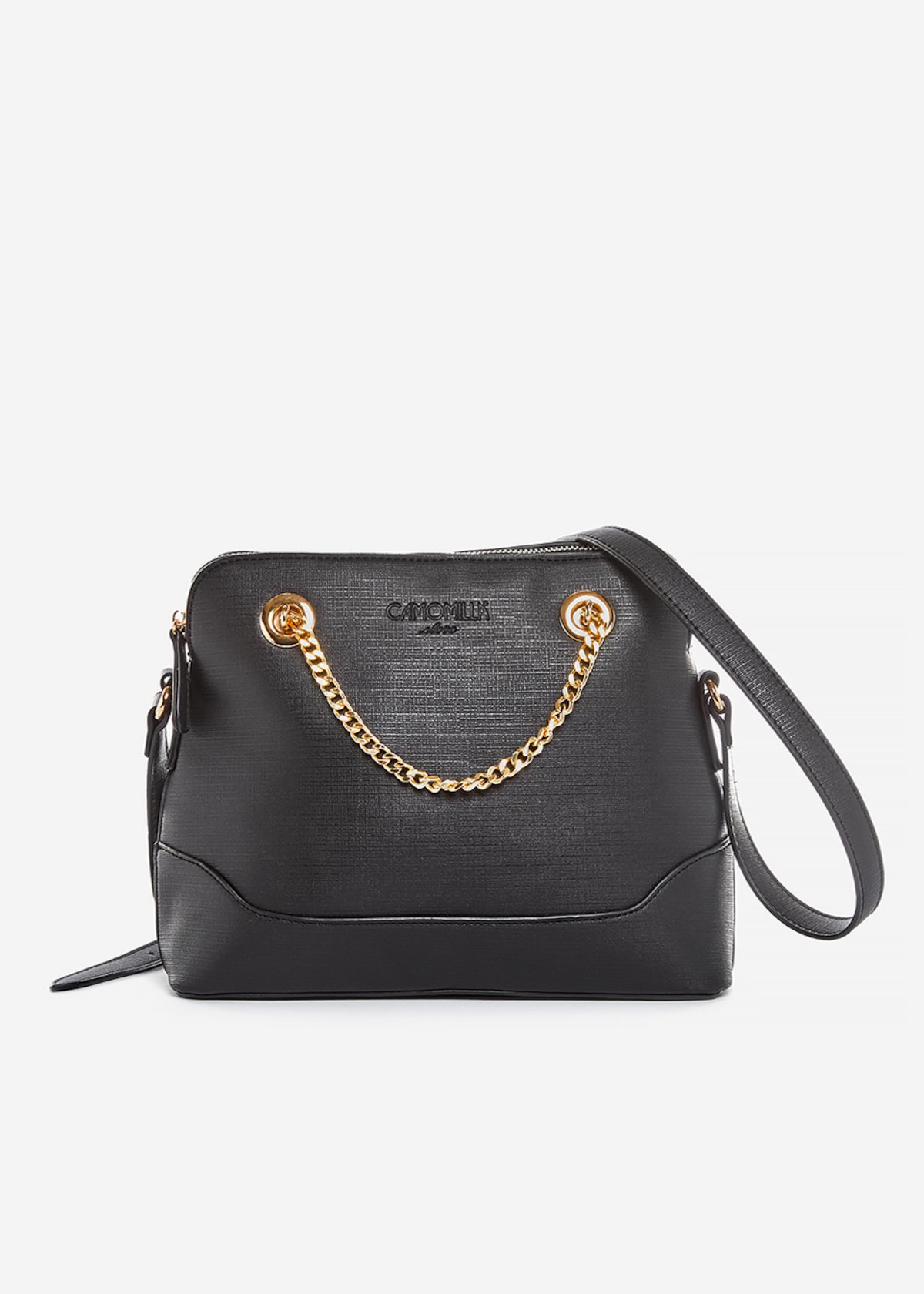 Crossbody bag Brigida in ecopelle con dettaglio catena gold - Black