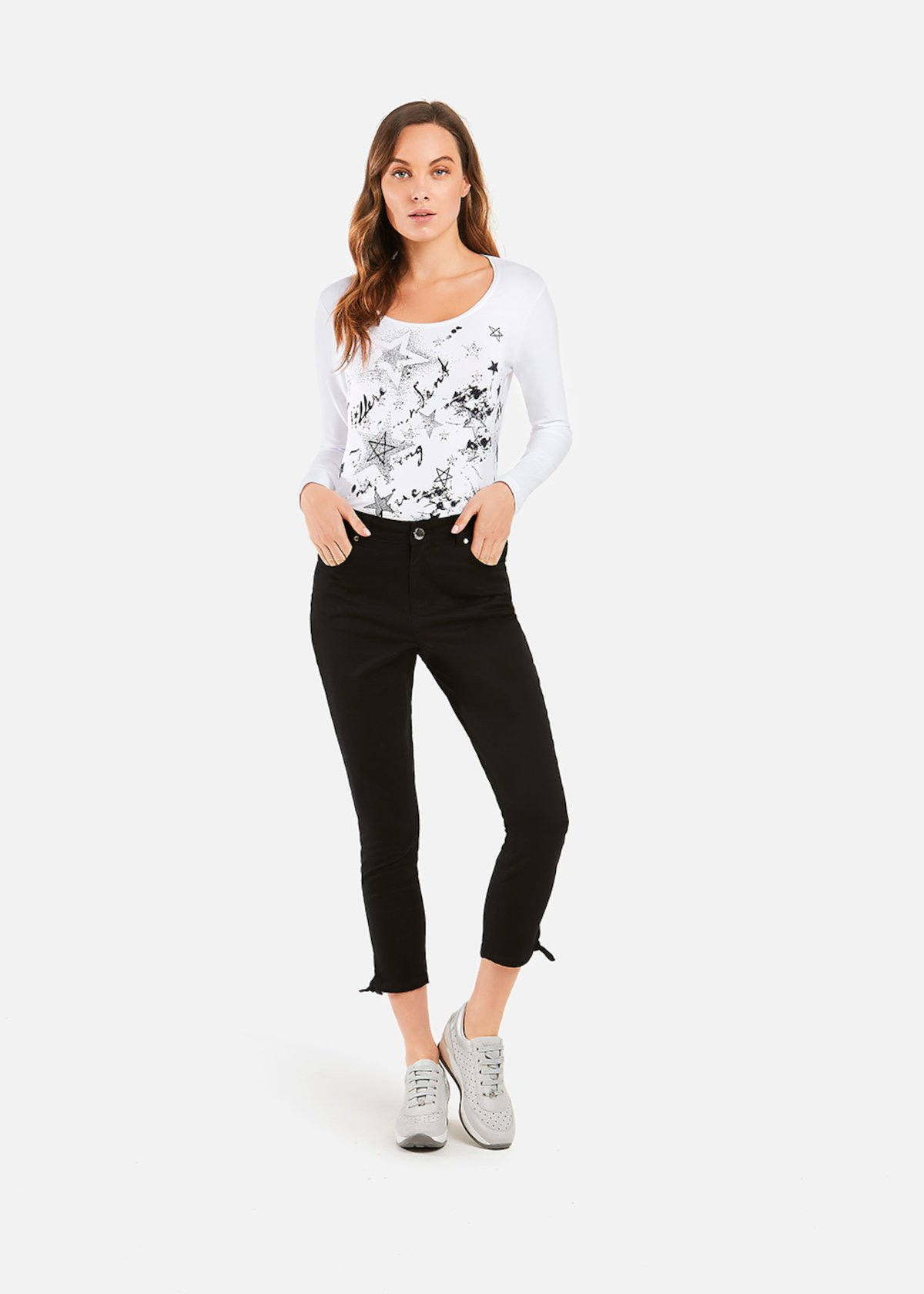 Pantaloni Paly modello capri - Black