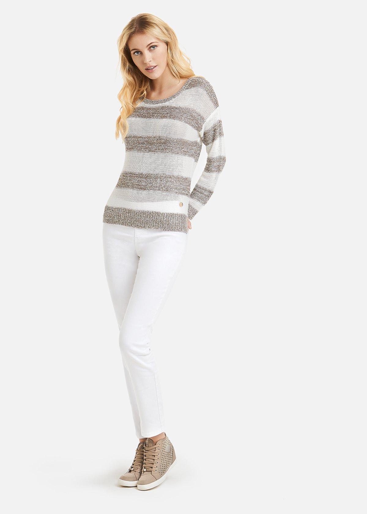 Melany sweater stripe fantasy with sequins - Desert / White Stripes