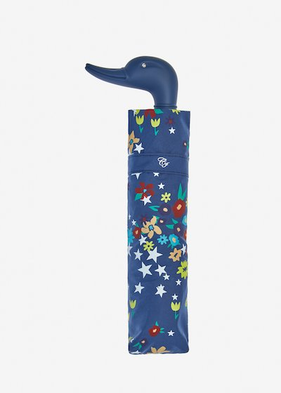 Duck umbrella with stars and flowers print