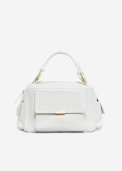 Bessie faux leather hand bag with interlacement detail - Bianco