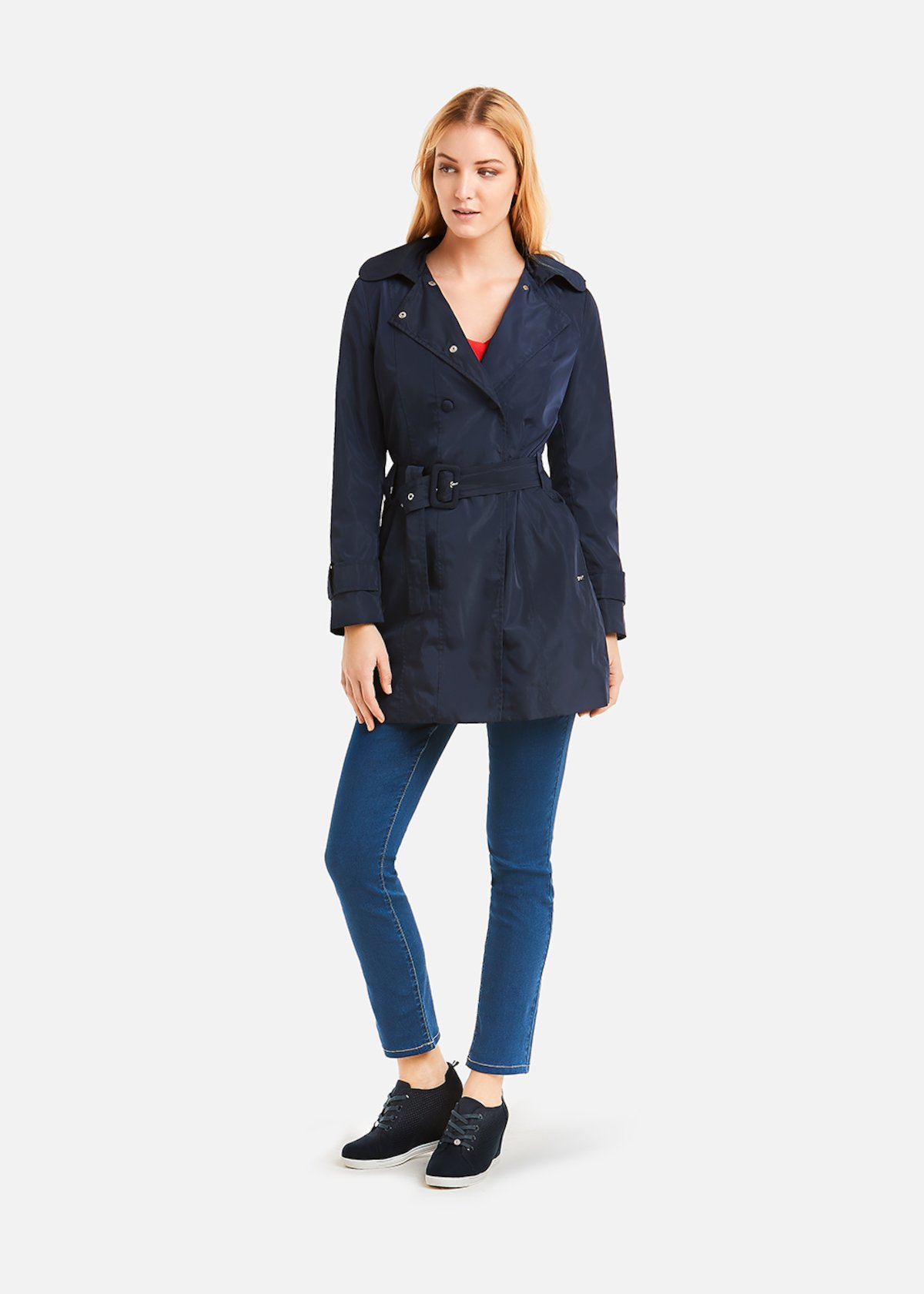 Tracy trench coat double breasted button closure
