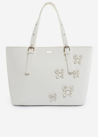 Faux-leather shopping bag Brenda with butterfly details - Bianco