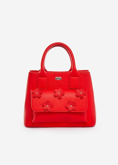 Beatris faux leather shopping bag with flowers detail