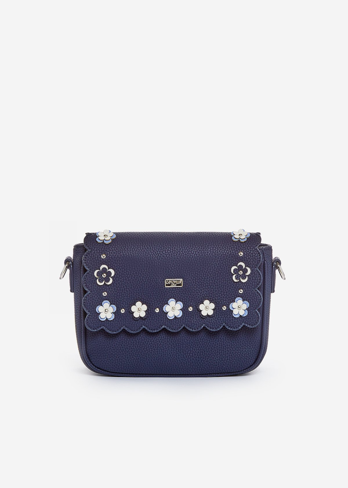Small handbag Bluma con pattina e dettaglio fiori - Medium Blue Morning