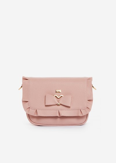 Small faux-leather handbag Basilia with bow and ruffles details - magnolia
