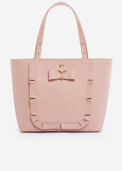 Faux-leather Briseide shopping bag with bow and ruffles.