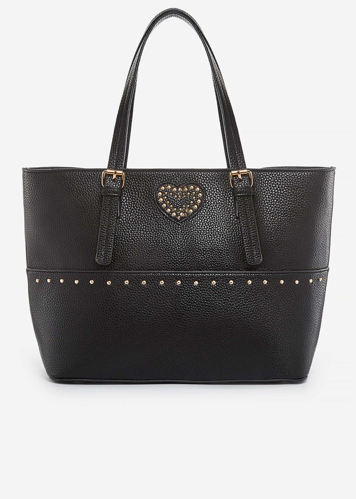 Brina faux leather shopping bag with heart of pearls detail - Black