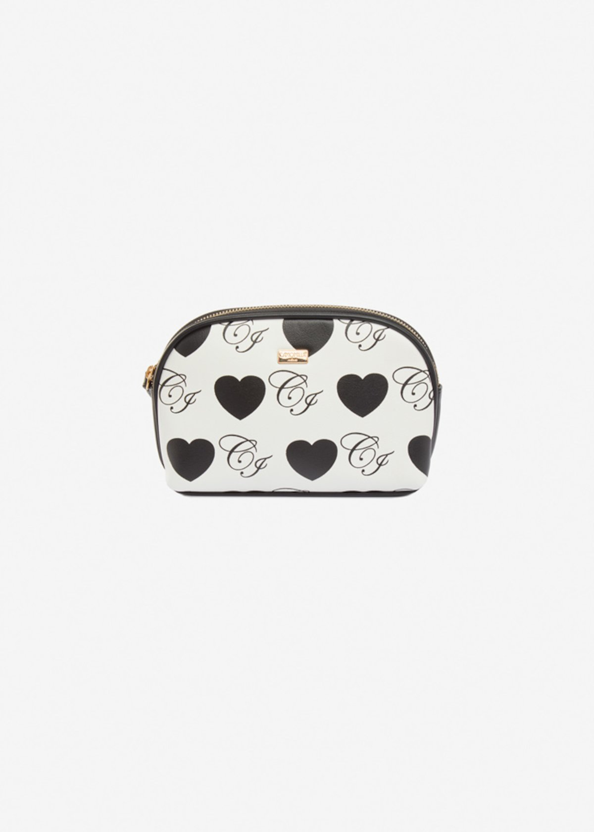 Bertrada faux-leather beauty case with hearts print - White Black Fantasia
