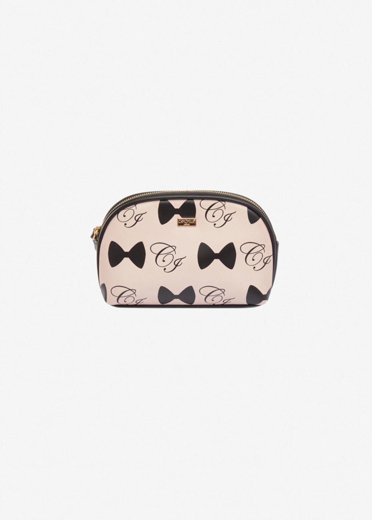 Berta faux-leather beauty case with bows print - Magnolia Black Fantasia