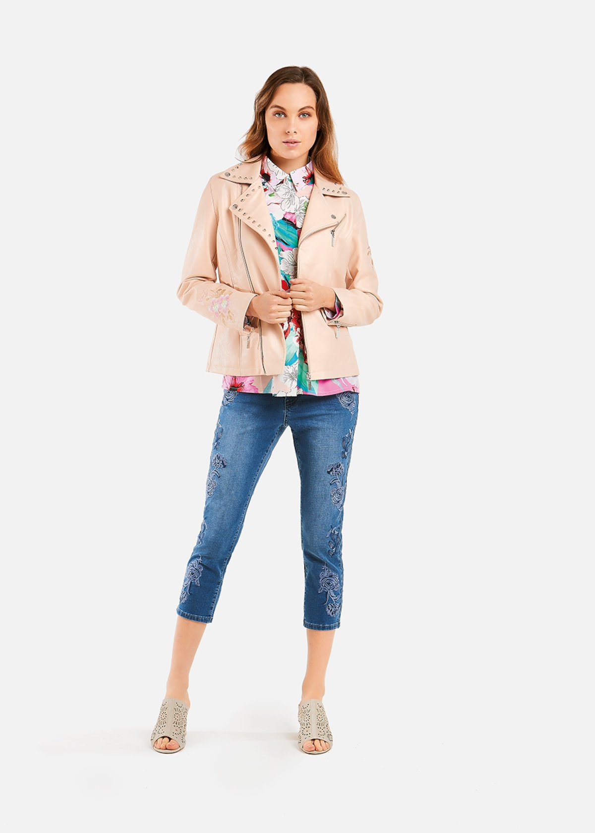 Gennifer jacket with flowers and studs - Rosa