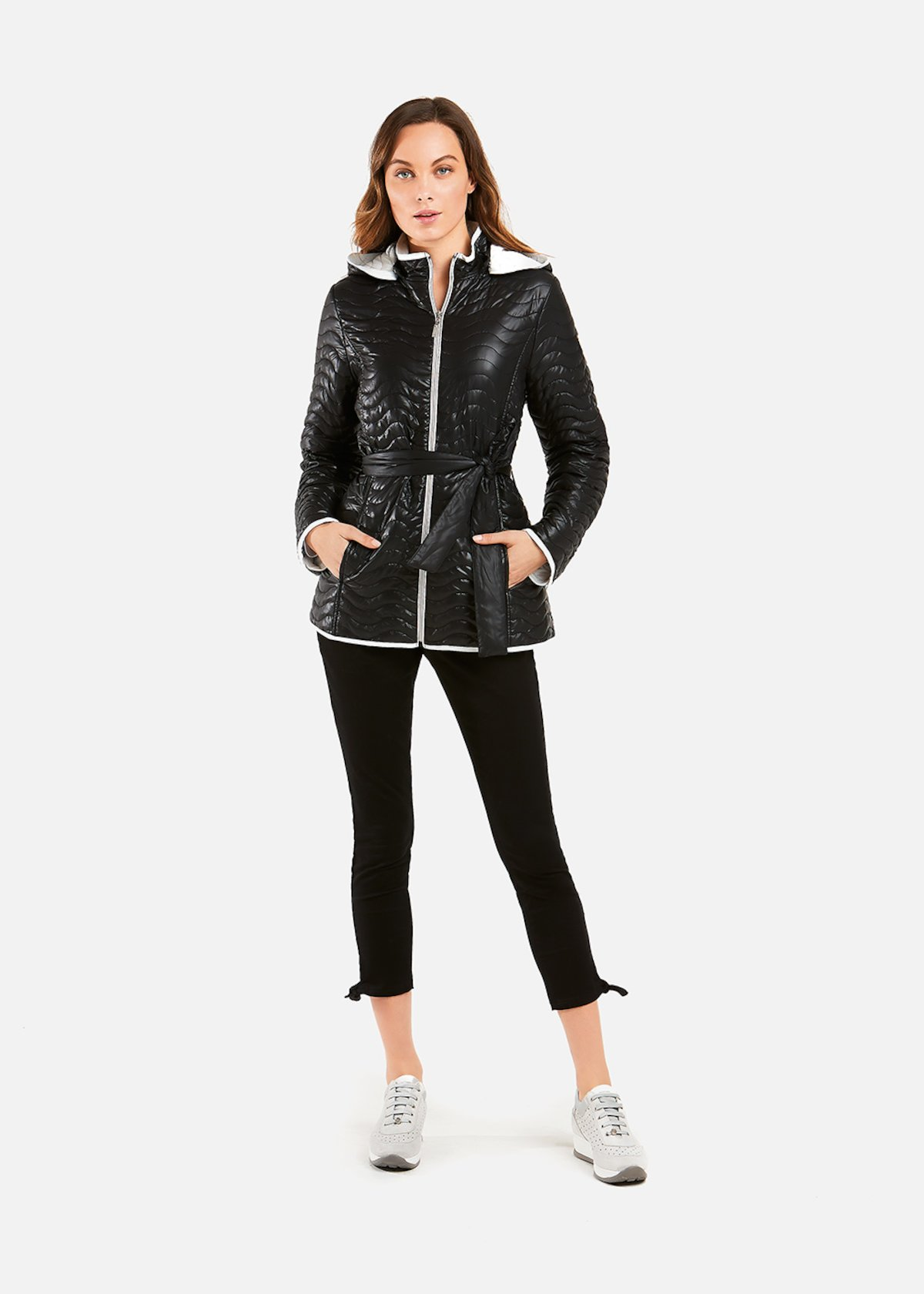 Bicolour quilted Persy padded jacket - Black / White
