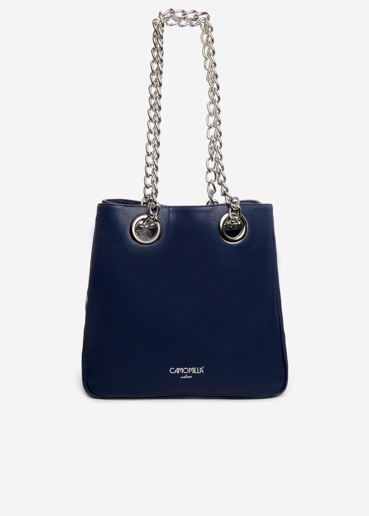 Bosara faux leather shopping bag with printed silver logo - Medium Blue