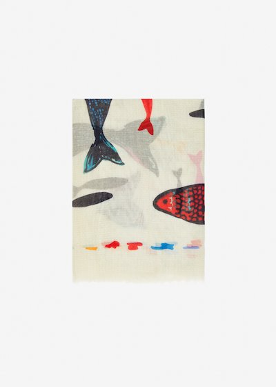 Shirl scarf fish print - White Fantasia