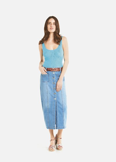 Gonna lunga Gabryl con bottoni e profondo spacco - Medium Denim