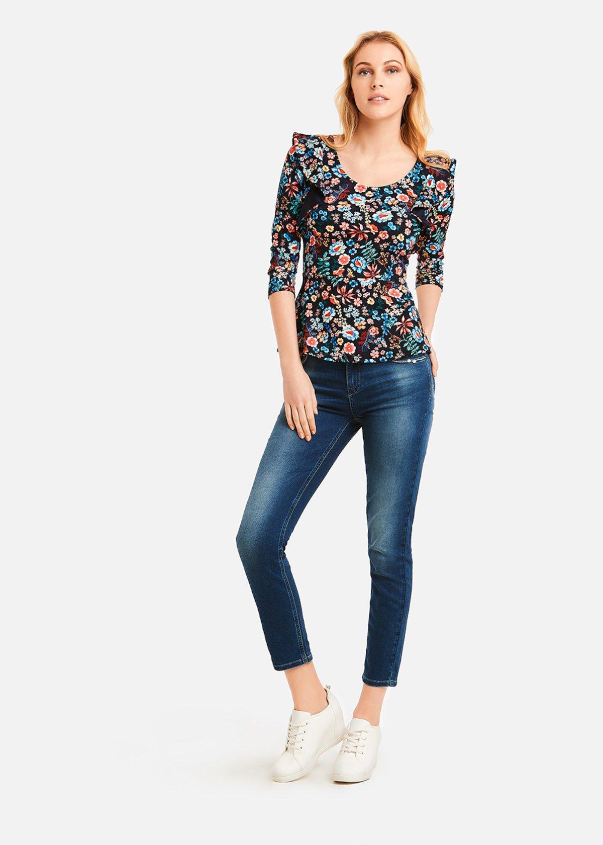 Sasha deep garden pattern t-shirt - Dark Blue Fantasia