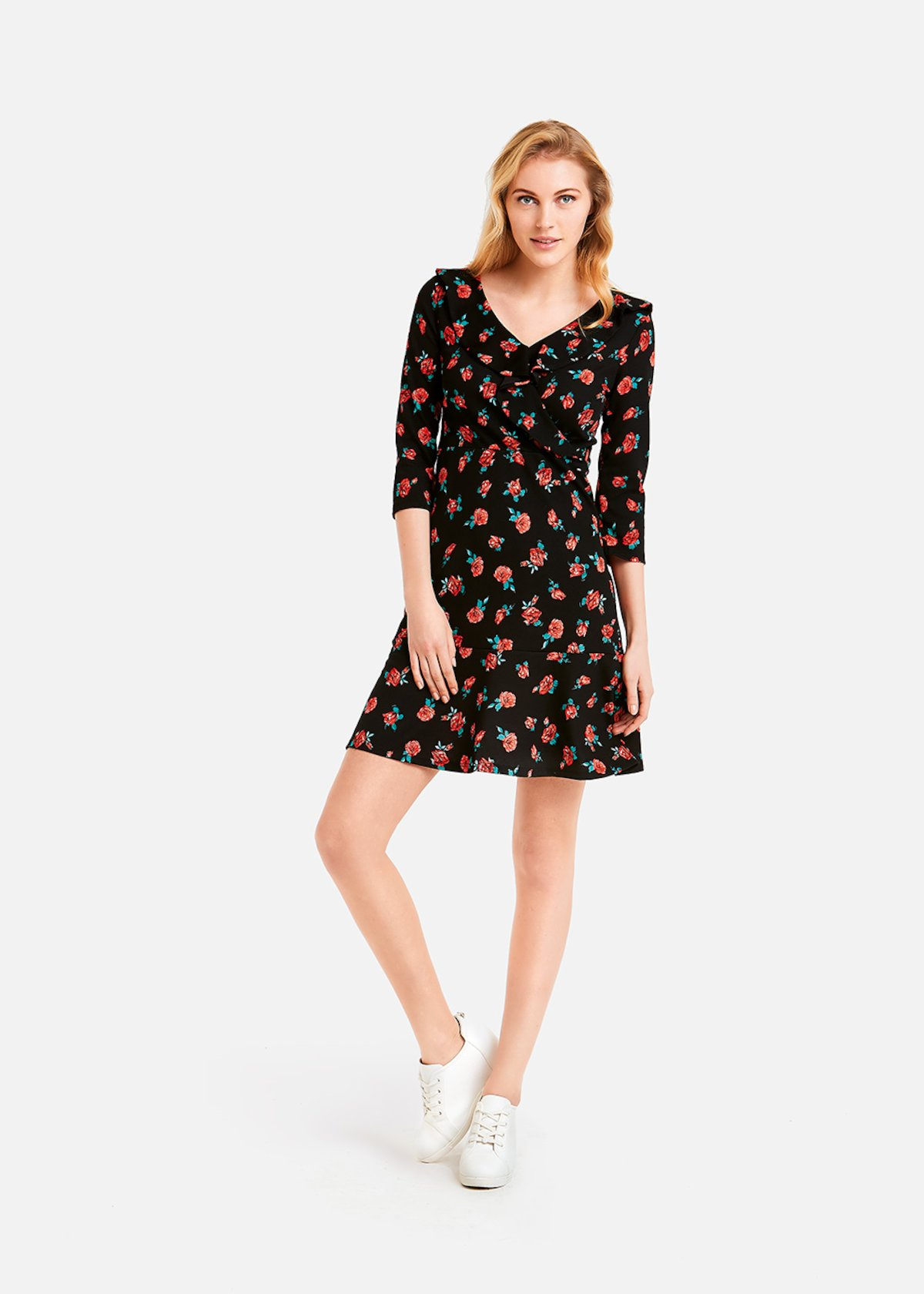 Alyson dress 101 roses pattern - Black Fantasia