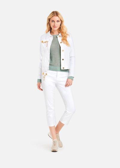 Giudit jacket with light gold rose medals - Bianco