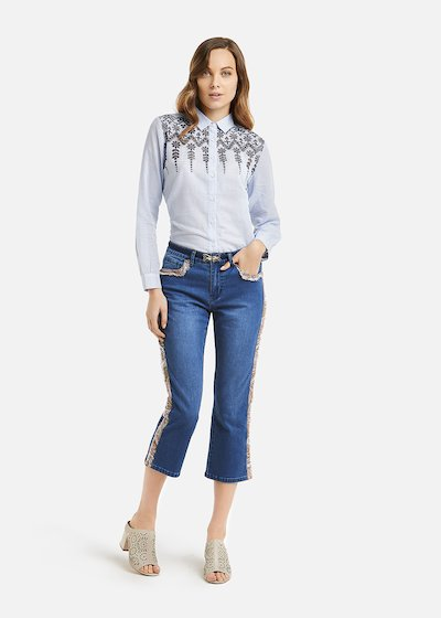 Polly denim frayed detail