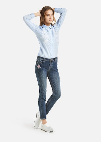 Dodo Denim star and sequins detail - Dark Denim