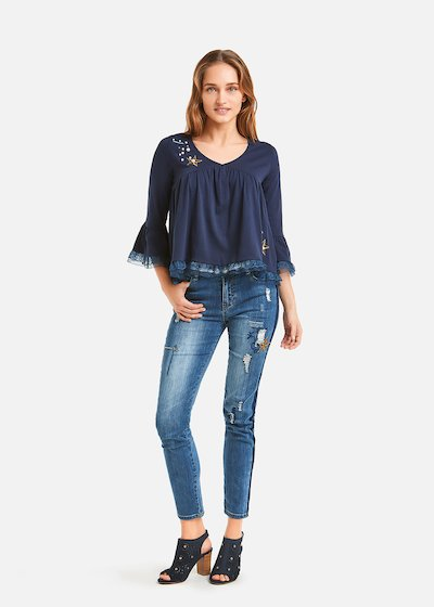 Sady t-shirt with lace and valance - Blue