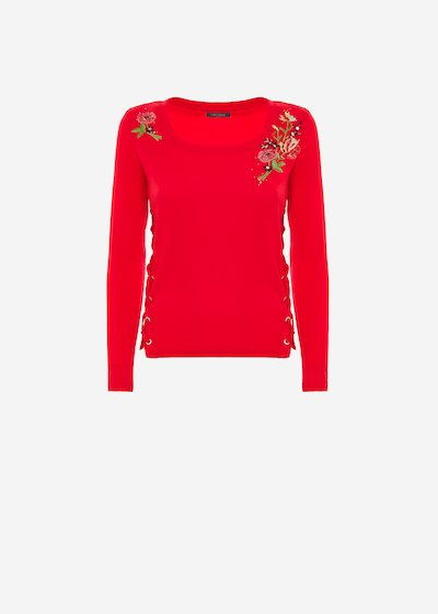 Shally t-shirt with floral embroidery