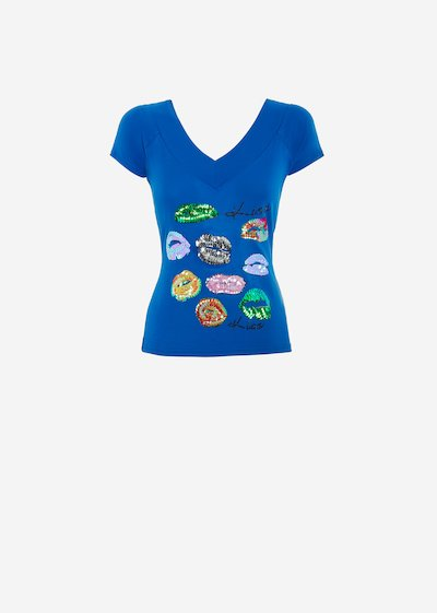 Skin T-shirt with sequins mouths