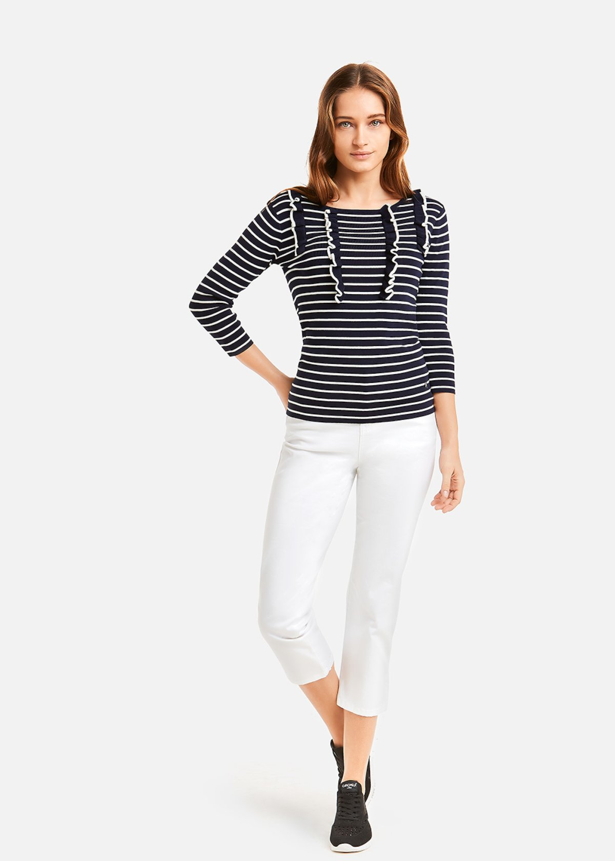 Stripe fantasy jerseywith ruffles - Medium Blue / White Stripes
