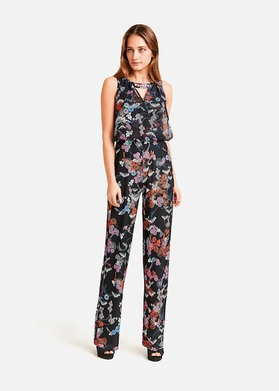 Tiger jumpsuit floral pattern